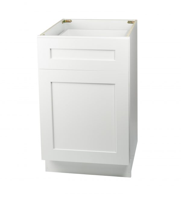 Ready to Assemble 18Wx34.5Hx24D in. Shaker Base Cabinet with 1 Door and 1 Drawer in White