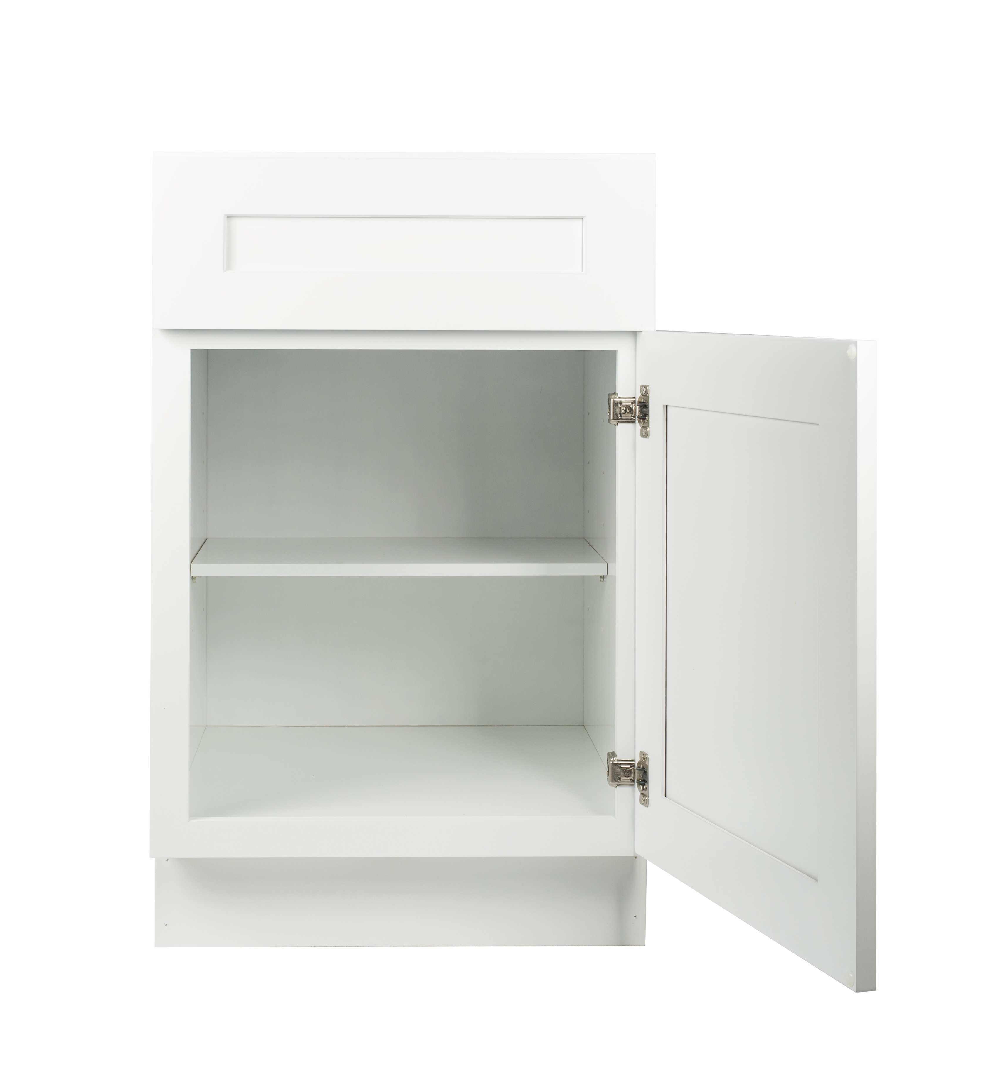 Ready to Assemble 15Wx34.5Hx24D in. Shaker Base Cabinet with 1 Door and 1 Drawer in White