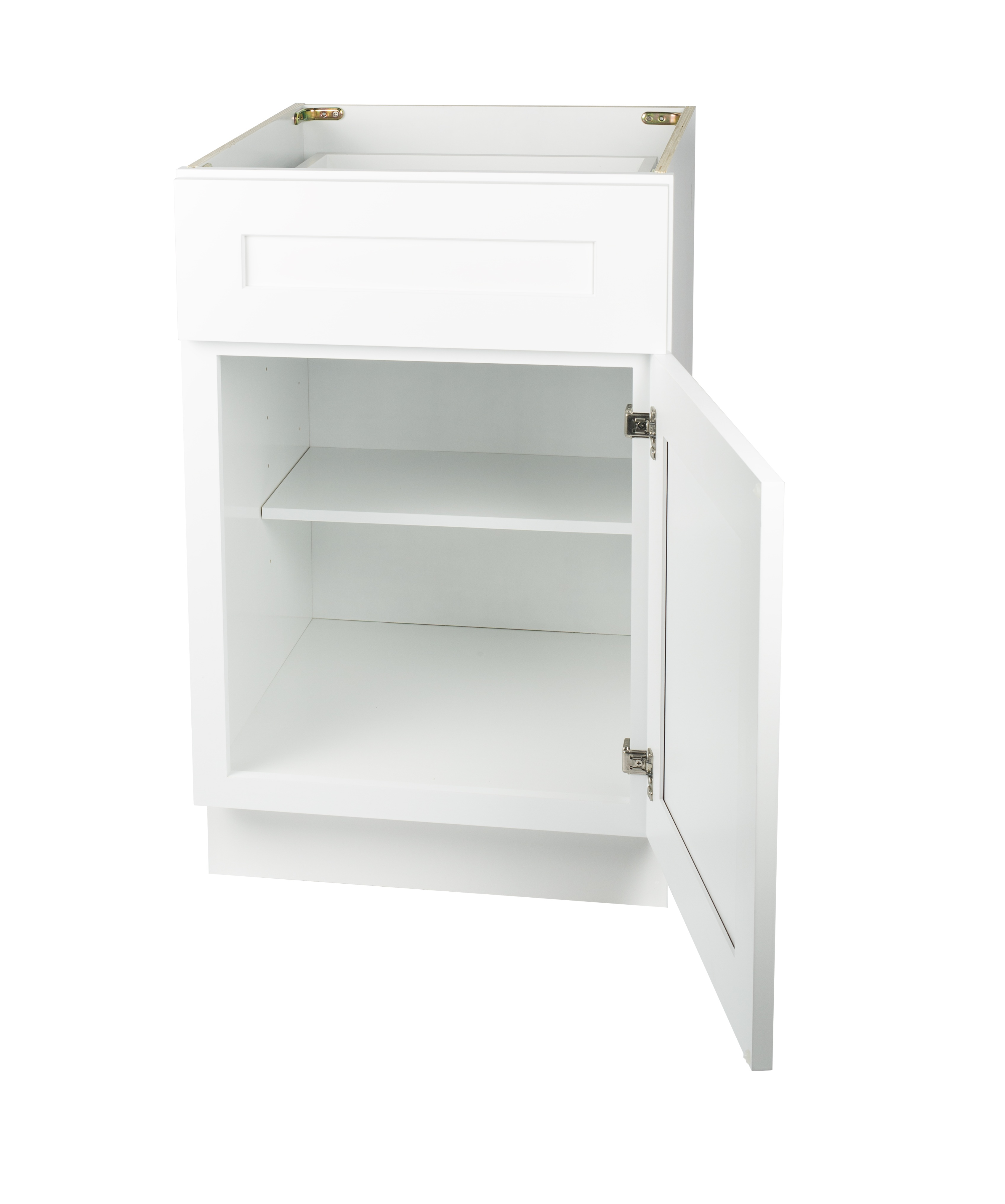 Ready to Assemble 9Wx34.5Hx24D in. Shaker Base Cabinet with 1 Door and 1 Drawer in White