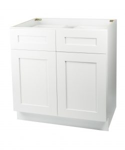 Ready to Assemble 36Wx34.5Hx24D in. Shaker Base Cabinet with 2 Door and 2 Drawer in White