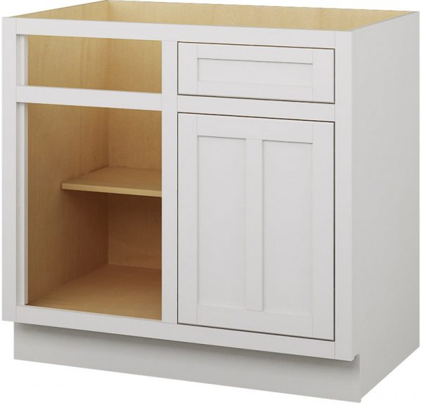 Ready to Assemble Shaker 39Wx34.5Hx24D in. Base Blind Corner Cabinet-1 Drawer 1 Door 1 Shelf in White