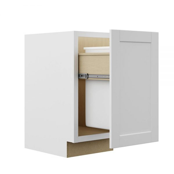 Ready to Assemble Shaker 12Wx34.5Hx24D in. BASE WASTE BASKET-1 DOOR, I BASKET in White
