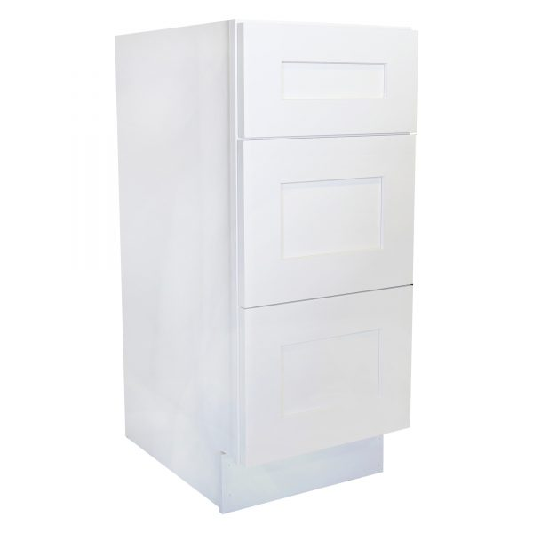 Ready to Assemble 15Wx34.5Hx21D in. Shaker VANITY DRAWER BASE-3 DRAWERS in White
