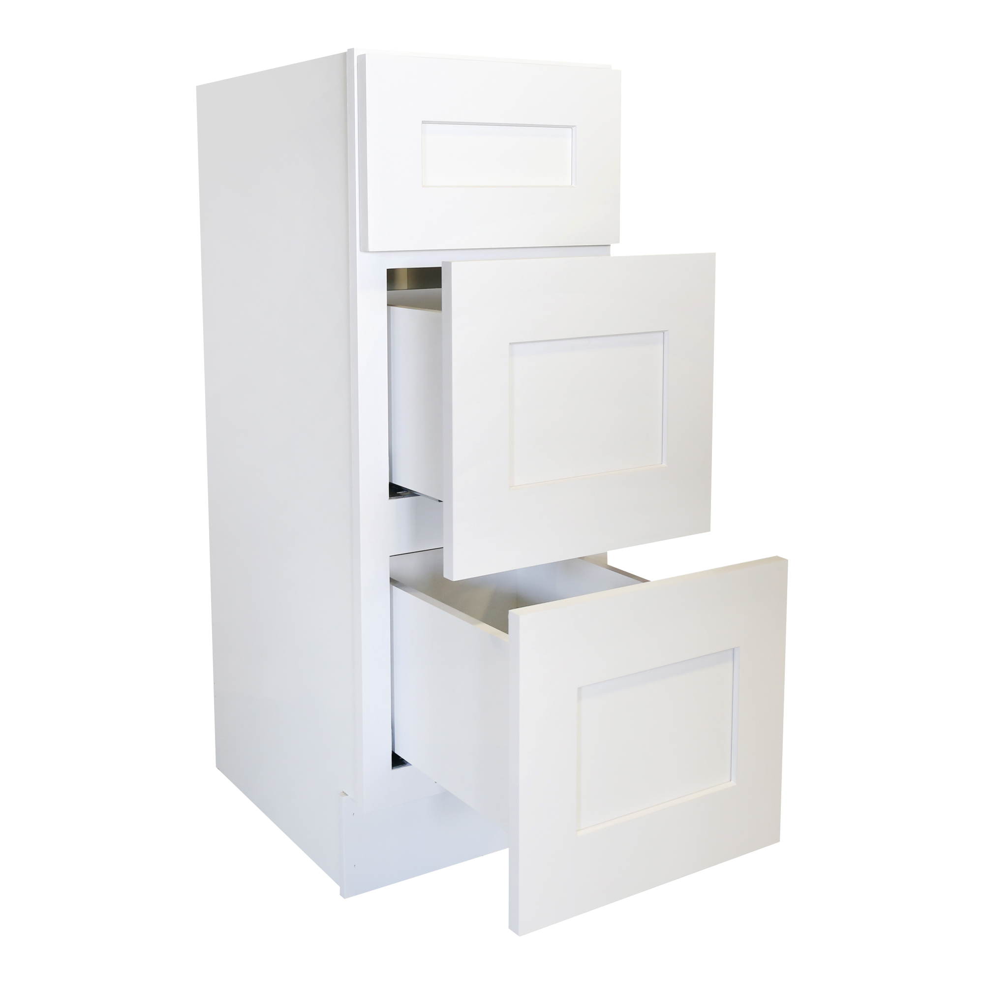 Ready to Assemble 12Wx34.5Hx21D in. Shaker VANITY DRAWER BASE-3 DRAWERS in White