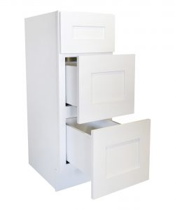 Ready to Assemble 12Wx34.5Hx24D in. Shaker Base Drawer with 1 Standard Drawer with 2 Deep Drawers in White