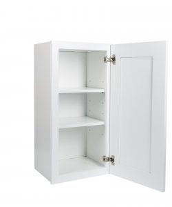 Ready to Assemble 15Wx30Hx12D in. Shaker Wall Cabinet with 1-Door and Adjustable Shelves in White