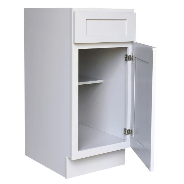 Ready to Assemble 15Wx34.5Hx24D in. Shaker Base Cabinet with 1 Door and 1 Drawer in Gray