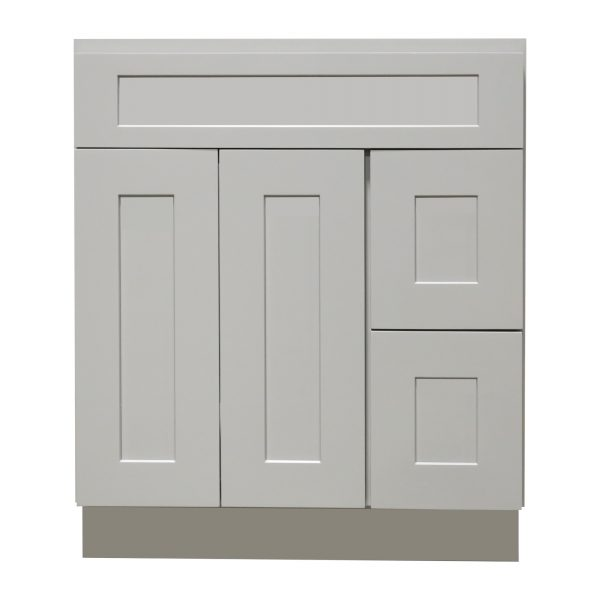 Ready to Assemble 30Wx34.5Hx21D in. Shaker VANITY SINK BASE WITH DRAWER-2 DOORS 3 DRAWERS in Gray