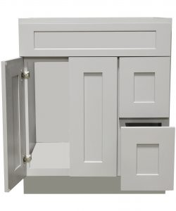 Ready to Assemble 36Wx34.5Hx21D in. Shaker VANITY SINK BASE WITH DRAWER-2 DOORS 3 DRAWERS in Gray