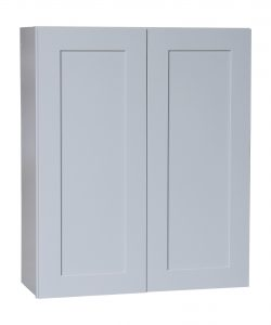 Ready to Assemble 30x15x12 in. Shaker High Double Door Wall Cabinet in Gray