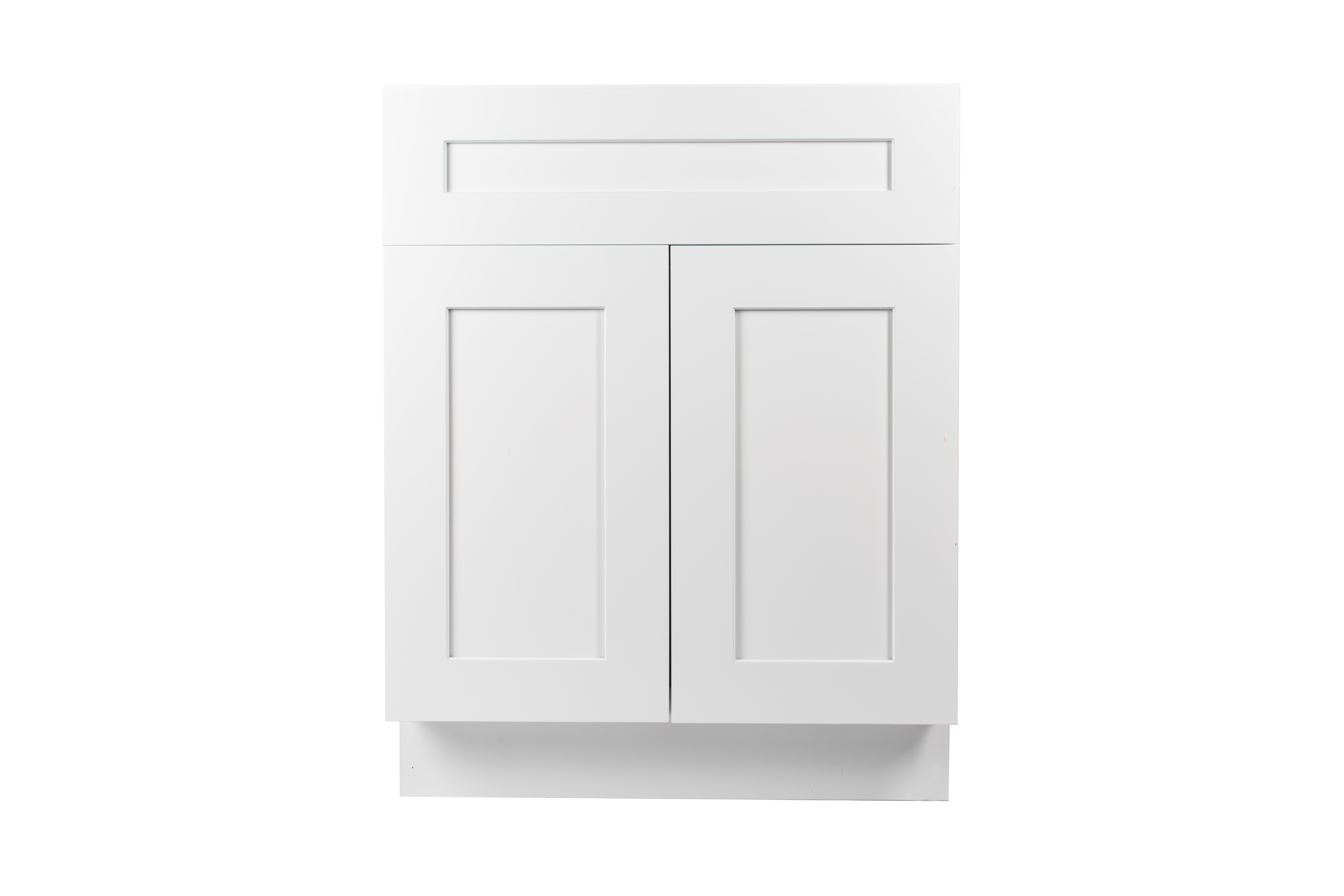 Ready to Assemble 24Wx34.5Hx21D in. Shaker  VANITY SINK BASE CABINET-1-FAKE DRAWER ,2 DOORS in White