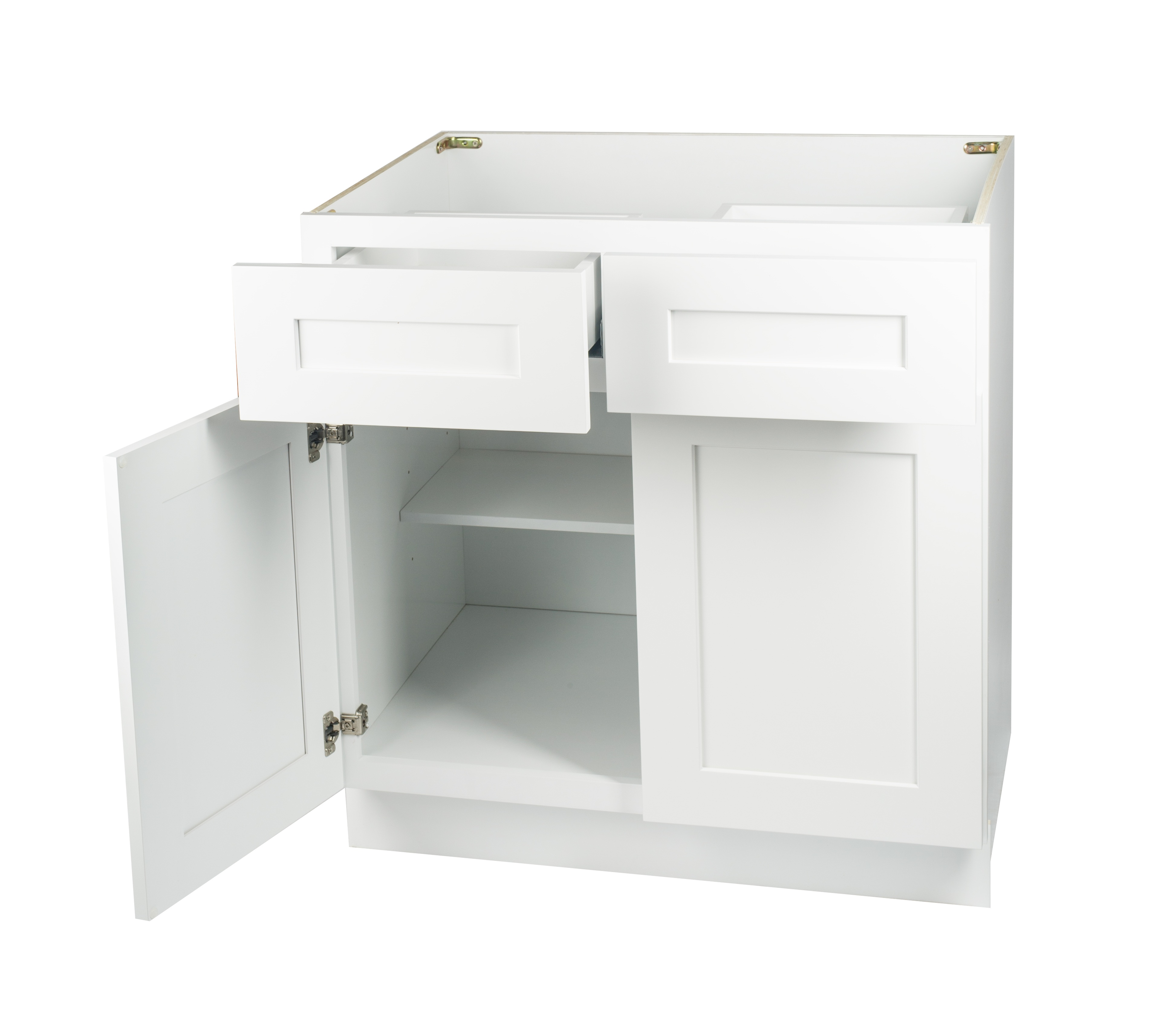 Ready to Assemble 42Wx34.5Hx24D in. Shaker Base Cabinet with 2 Door and 2 Drawer in White