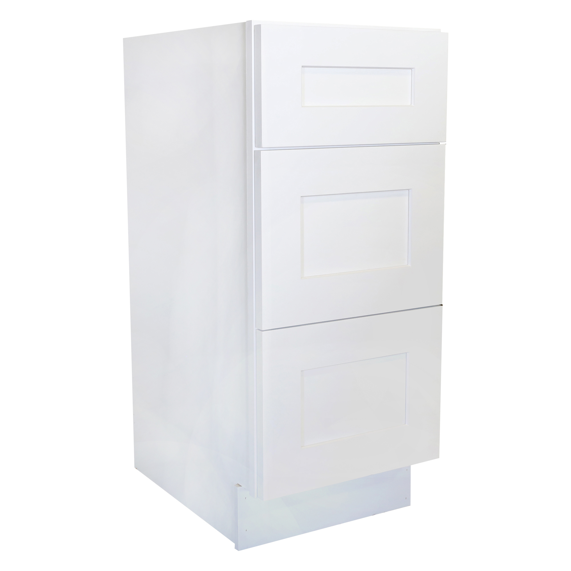Ready to Assemble 18Wx34.5Hx24D in. Shaker Base Drawer with 1 Standard Drawer with 2 Deep Drawers in White