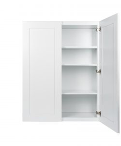 Ready to Assemble 24x42x12 in. Wall Cabinets with 2 Doors and 2 Adjustable Shelves in Shake White
