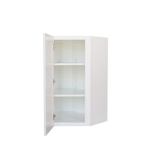 Ready to Assemble 27x30x12 in. Shaker Wall Angle Corner with Single Door and 2 Adjustable Shelves in White