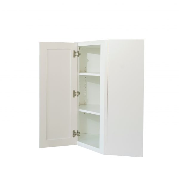 Ready to Assemble 24x42x12 in. Shaker Wall Angle Corner with Single Door and 2 Adjustable Shelves in White