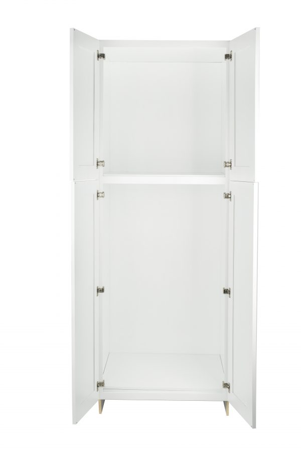 Ready to Assemble 30Wx96Hx24D in. Shaker WALL PANTRY-4 DOORS in White