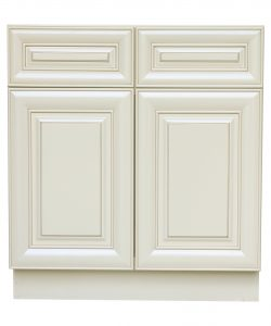 AWxB33   Ready to Assemble 33Wx34.5Hx24D in.  Base Cabinet with 2 Door and 2 Drawer inAntique White