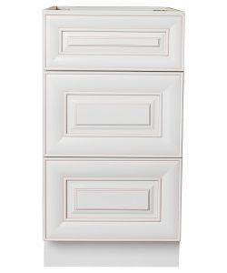 AWxDB15-3   Ready to Assemble 15Wx34.5Hx24D in.  Base Drawer with 1 Standard Drawer with 2 Deep Drawers inAntique White