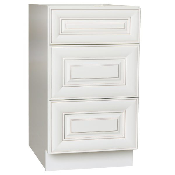 AWxDB30-3   Ready to Assemble 30Wx34.5Hx24D in.  Base Drawer with 1 Standard Drawer with 2 Deep Drawers inAntique White