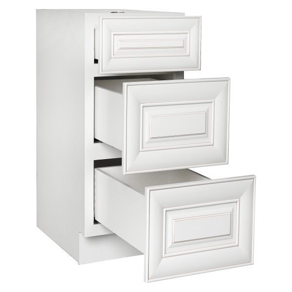 AWxDB21-3   Ready to Assemble 21Wx34.5Hx24D in.  Base Drawer with 1 Standard Drawer with 2 Deep Drawers inAntique White