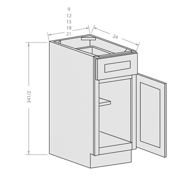 Chocolate base cabinet with 1 door and 1 drawer