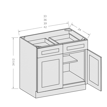 Chocolate base cabinet with 2 door and 2 drawer