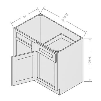 Chocolate base blind corner cabinet 1 drawer 1 door 1 shelf