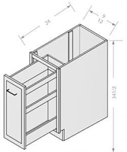Shaker Gray in base spice rack 1 door