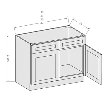Chocolate sink base cabinet with 2 doors