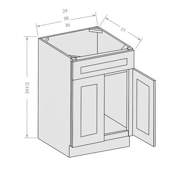 Shaker Gray vanity sink base cabinet 1 fake drawer 2 doors