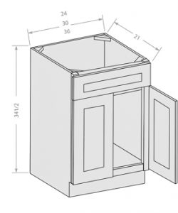 Shaker Gray vanity sink base cabinet 1 fake drawer 2 doors