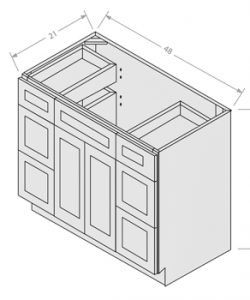 Shaker White vanity sink base with drawer 2 doors 4 drawers