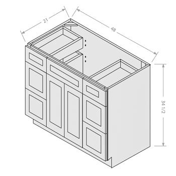 Shaker White vanity sink base with drawer 2 doors 4 drawers