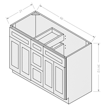Chocolate vanity double sink base 2 doors 3 drawers