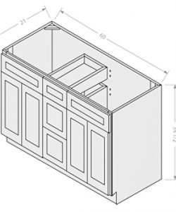 Shaker White vanity double sink base 2 doors 3 drawers