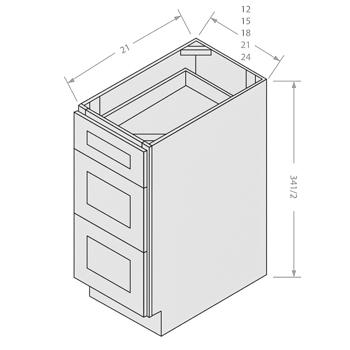 Chocolate vanity drawer base 3 drawers