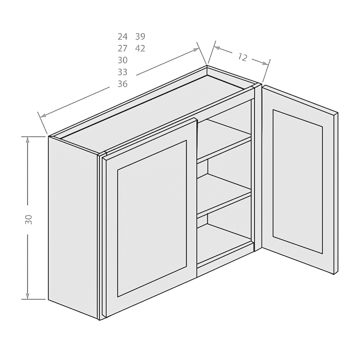 Chocolate wall cabinets with 2 doors and 2 adjustable shelves 3