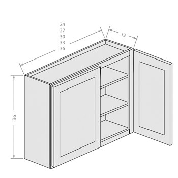 Chocolate wall cabinets with 2 doors and 2 adjustable shelves