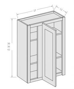 Antique White wall blind corner cabinet with adjustable shelves