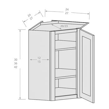 Chocolate wall angle corner with single door and 2 adjustable shelves