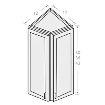Shaker White wall end corner cabinet 2 doors