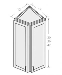 Shaker Gray ready to assemble 12x36x12 in wall end corner cabinet 2 doors