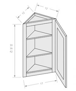 Shaker Gray ready to assemble 12x36x12 in wall end angle cabinet 1 door
