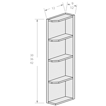 Chocolate wall end open shelf