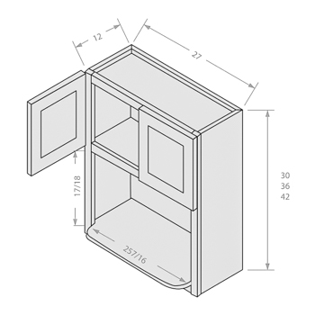 Shaker Gray wall microwave cabinet