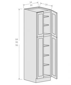 Shaker Gray wall pantry 4 doors