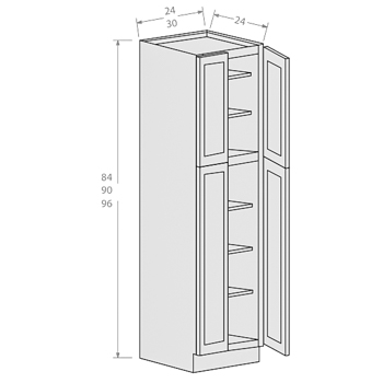 Shaker Gray wall pantry 4 doors